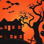 Haunted house and bats flying